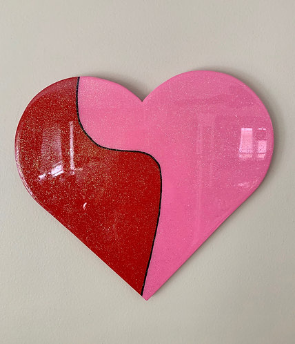 """""""Pink and Red"""" Heart Art"""