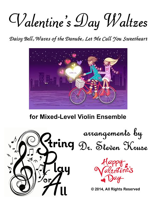 Valentine's Day Waltzes for Mixed-Level Violin Ensemble
