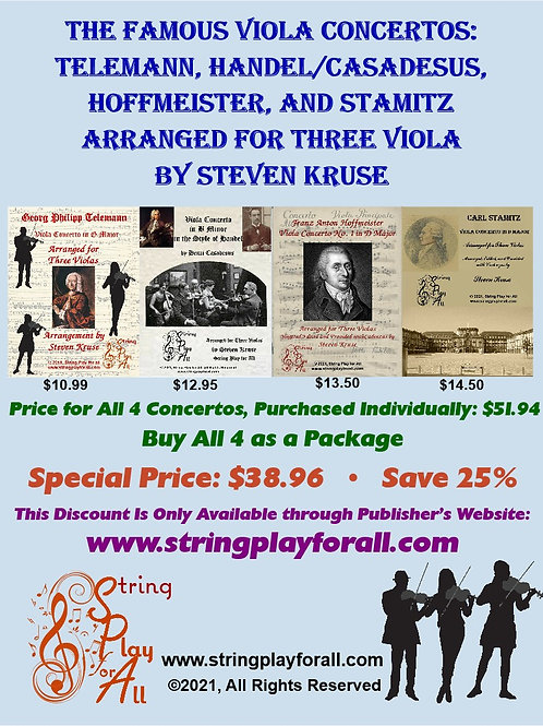 4 Viola Concerti arr. 3 Vlas: Telemann, Handel/Casadesus, Hoffmeister, Stamitz