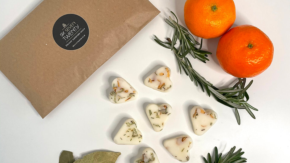 Clementine, Bay & Rosemary Botanical Wax Melts | Heart design 7 pack