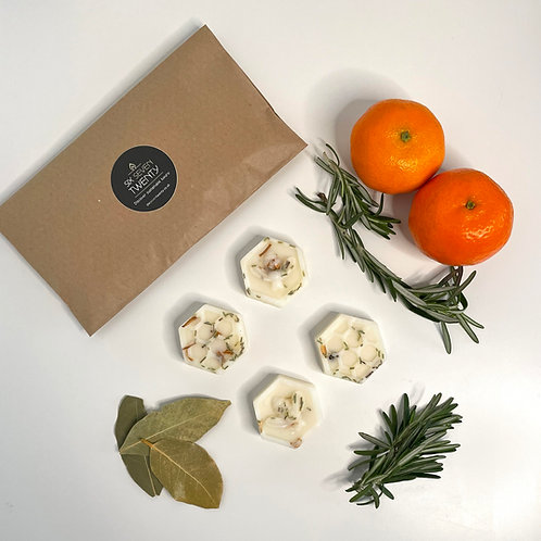 Clementine, Bay & Rosemary Botanical Wax Melts   Bee design 4 pack