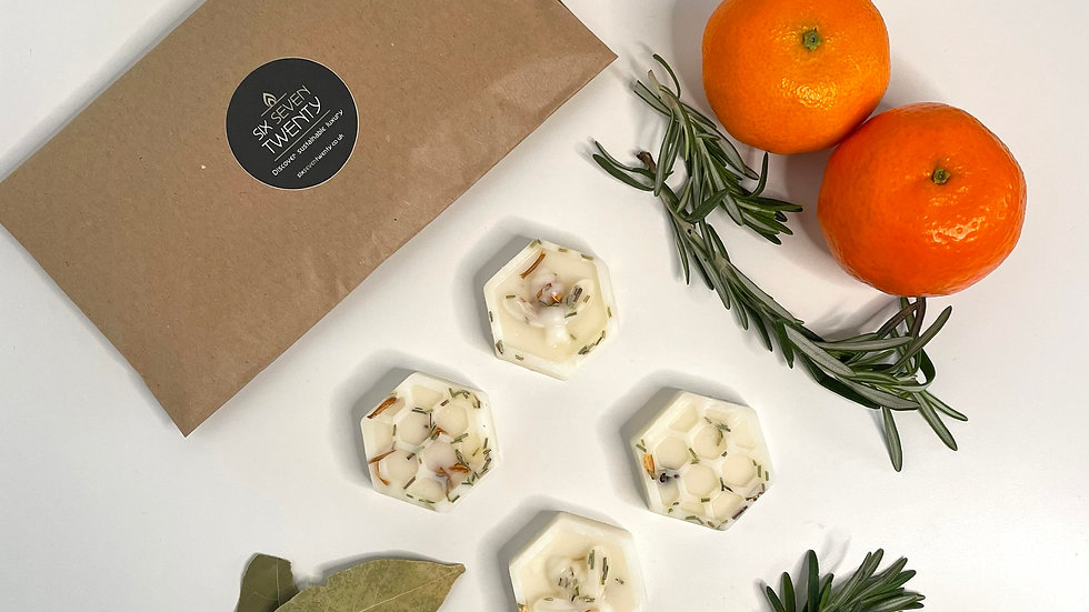 Clementine, Bay & Rosemary Botanical Wax Melts | Bee design 4 pack