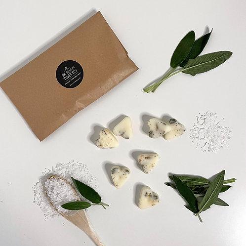 Sage & Sea Salt Botanical Wax Melts   Heart design 7 pack