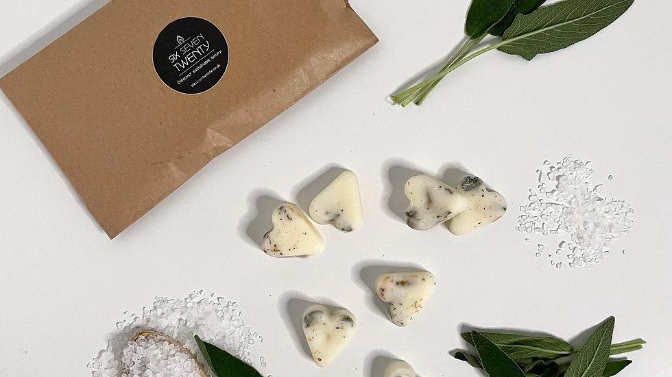 Sage & Sea Salt Botanical Wax Melts | Heart design 7 pack