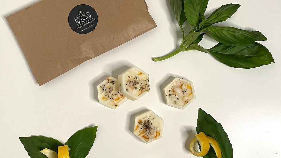 Basil & Lemon Rind Botanical Wax Melts   Bee design 4 pack