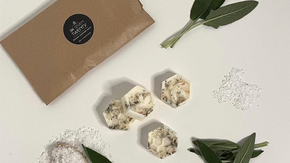 Sage & Sea Salt Botanical Wax Melts | Bee design 4 pack