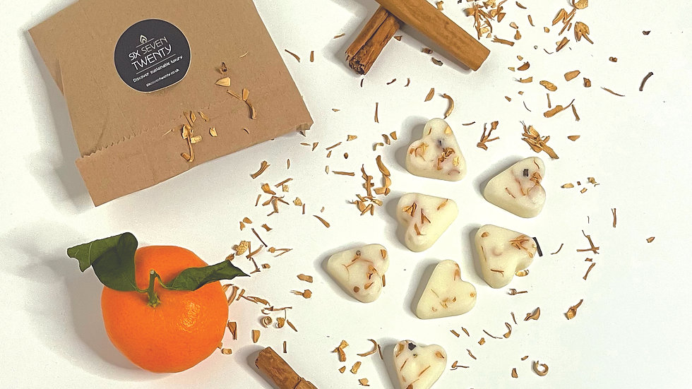 Spiced Mandarin Botanical Wax Melts | Heart design 7 pack