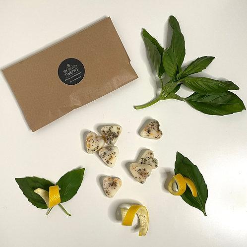 Basil & Lemon Rind Botanical Wax Melts   Heart design 7 pack