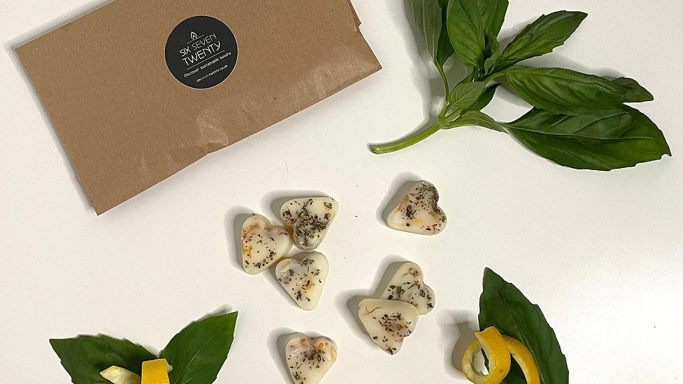 Basil & Lemon Rind Botanical Wax Melts | Heart design 7 pack