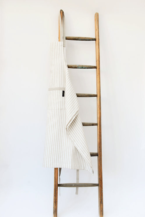 True Linen Long Stripe Apron