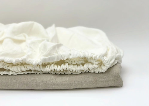 Off-White Linen Bed Fitted Sheet
