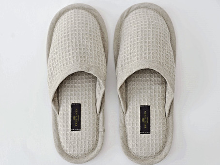 Linen Waffle Unisex Hotel/Spa Slippers