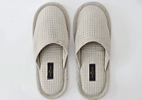 Linen Waffle Bath Unisex Slippers in Natural