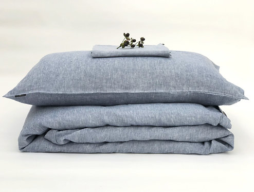 Light Blue Melange Linen Bedding Set