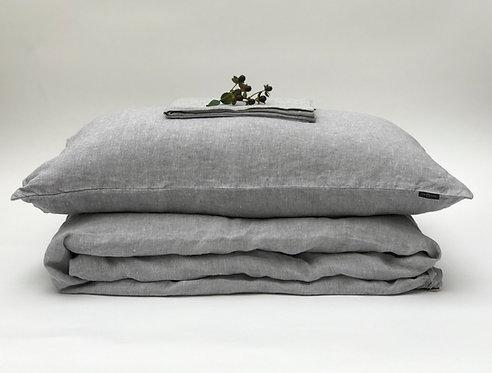 Light Grey Melange Linen Bedding Set