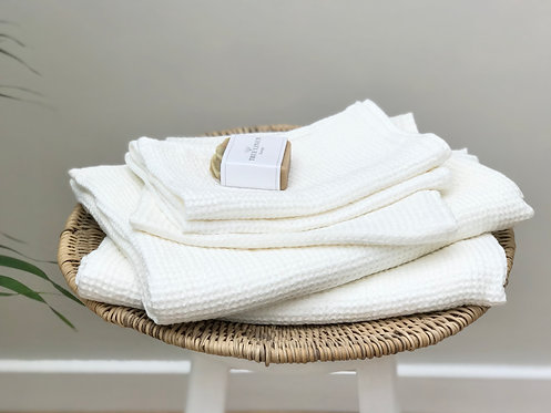 Linen Waffle Towel in Off-White