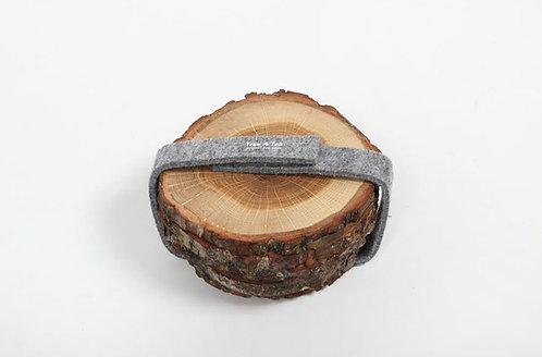 Oak Wood Small Coaster Set