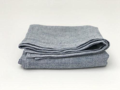 Linen Waffle Blue Towel