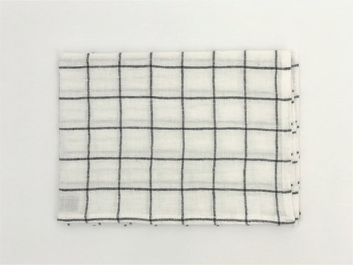 Charcoal Grid Linen Tea Towel
