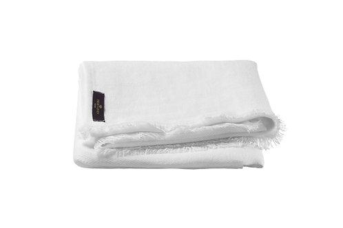 True Linen White Huckaback Bath Towel
