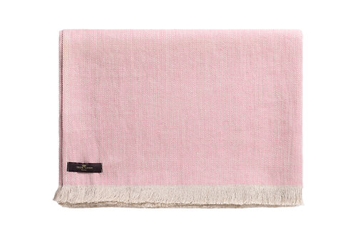 Herringbone Blush Pink Linen Plaid