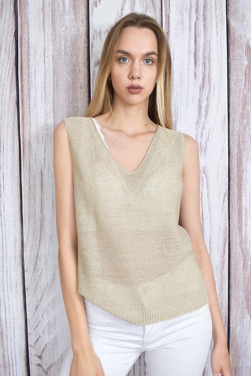 Linen Vest Top in Natural Oat