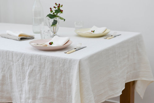 Washed Linen Off-White Classic Tablecloth