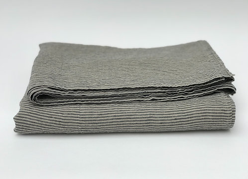 Black Pin Stripe Linen Tablecloth