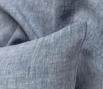 Light Blue Melange Linen bedding