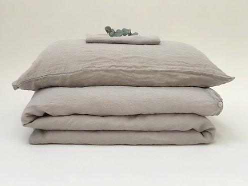 Dove Grey Linen Bedding Set