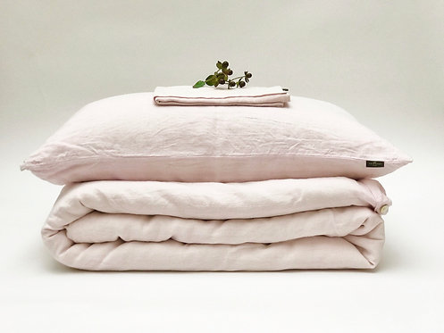 Blush Pink Linen Bedding Set