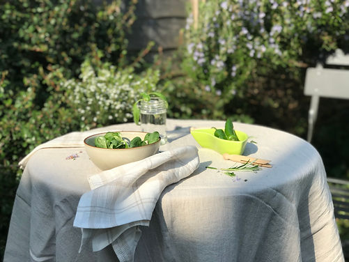 Washed Linen Natural Classic Tablecloth.