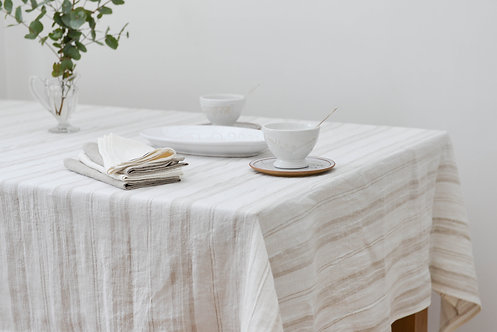 French Country Beige Stripe Tablecloth