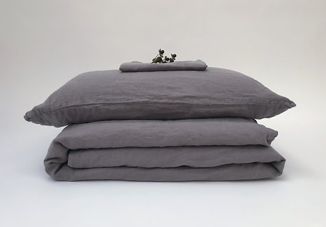 Slate Grey Linen Bedding Set