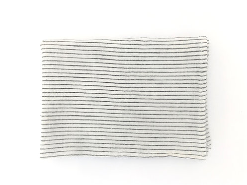 Black Pin Stripe Linen Tea Towel