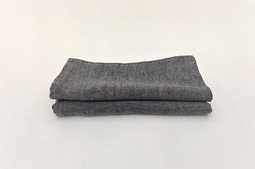 Grey Graphite Melange Linen Napkin