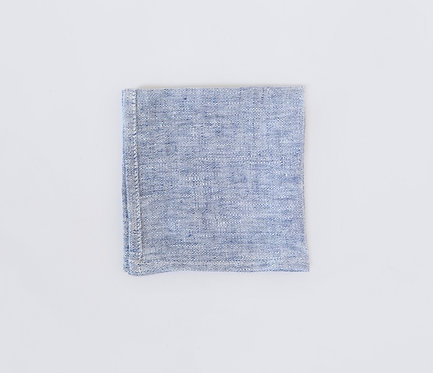 Light Blue Linen Pocket Square