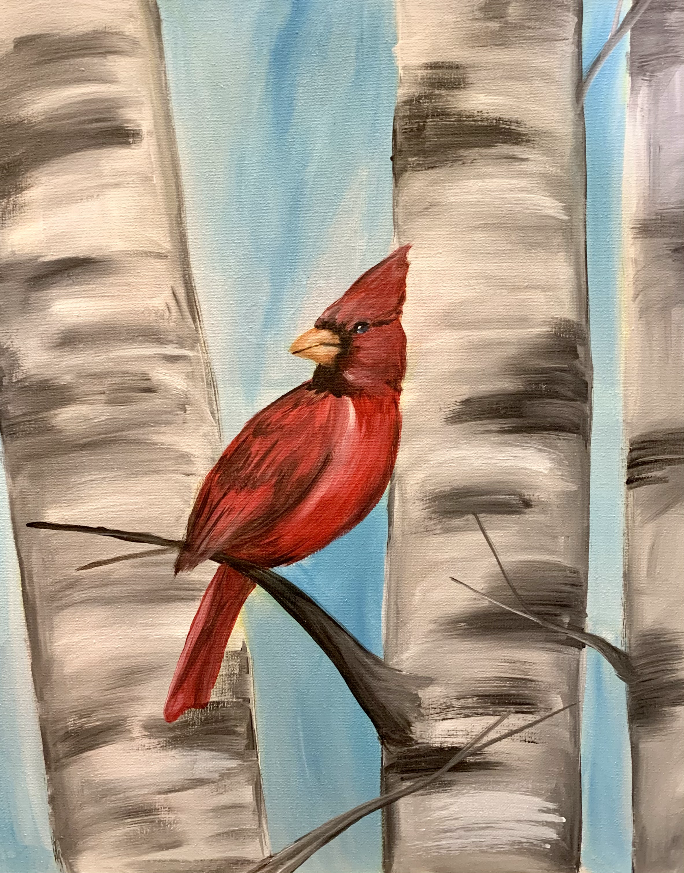 Cardinal in Birches