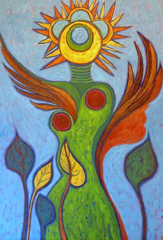 Sun Goddess - 2014 (24_ x 36_) Cold Wax