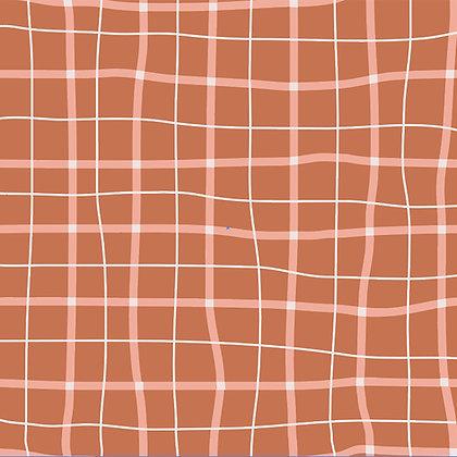 School squares  Terracota - jersey fabric