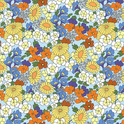 RETRO Flowers Blue - Tela punto jersey afelpado