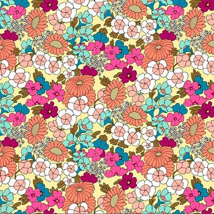 RETRO Flowers - Tela loneta algodón orgánico