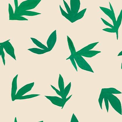 Organic cotton -  Maxi-leaves - green - beige