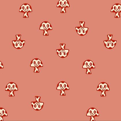 Mushrooms - Tela punto jersey afelpado