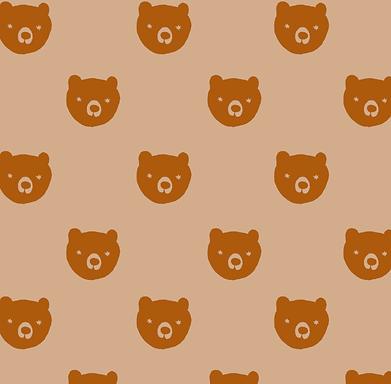 BEAR brown - Popelín 100% algodón orgánico