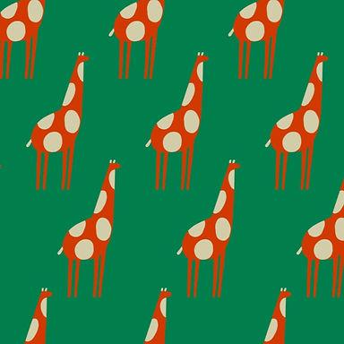 LOLA Giraffe Green - Tela punto jersey afelpado