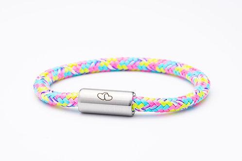 Armband rosa/ blau/ gelb, mit Tomanika Herz Symbol