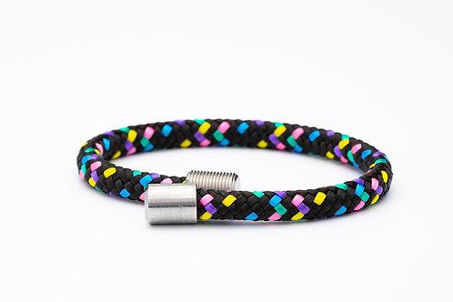 Wechselarmband, schwarz, rosa, gelb, blau