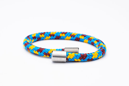 Wechselarmband, blau, braun, gelb