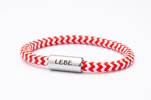 Armband rot/ weiß, mit Tomanika Lebe